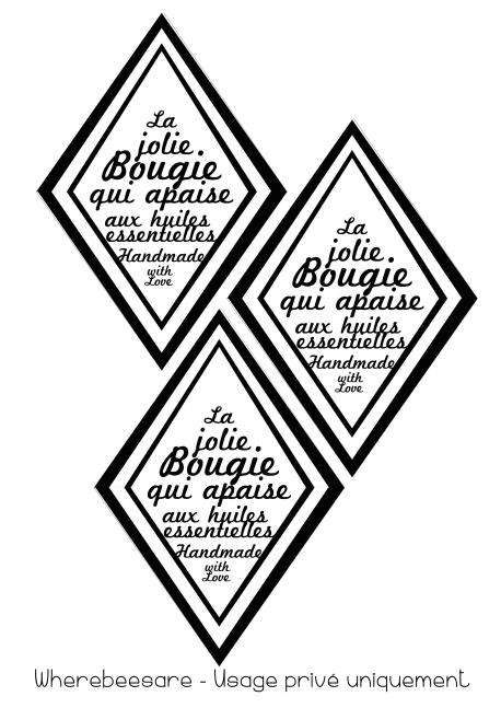 etiquette bougie x3
