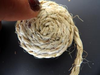 enroulage et collage de la corde