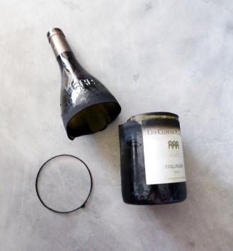 découpe de la bouteille en verre