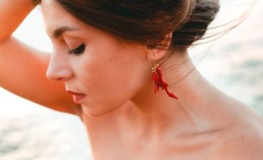 Boucle d'oreille corail